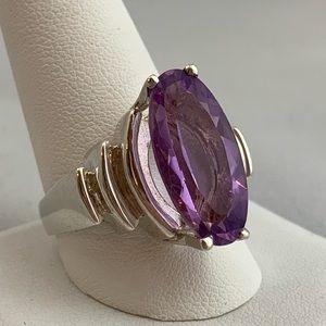 Jewelry - Bold Fancy Cut Amethyst & Sterling Silver Ring